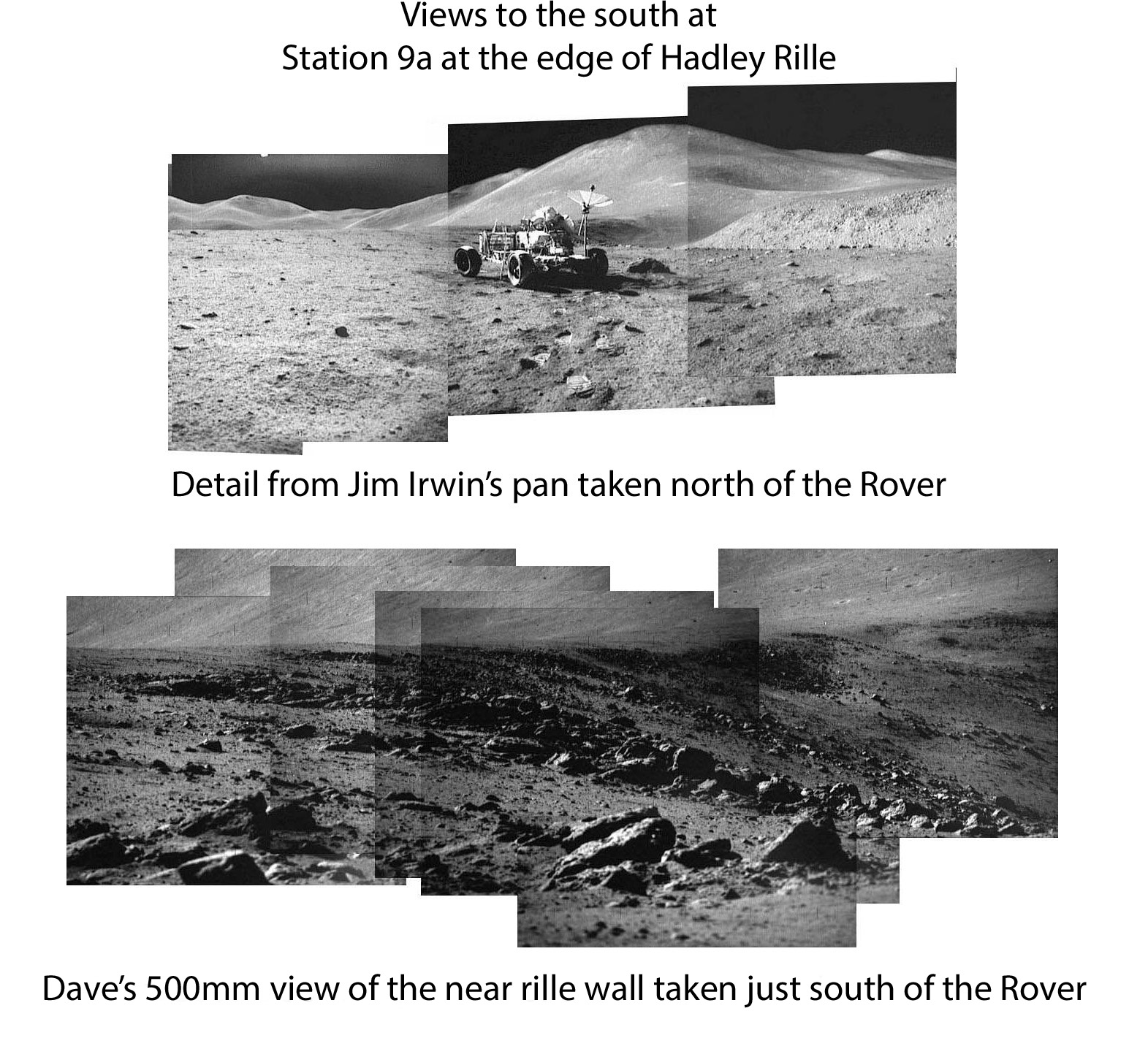 95594e13 [Dave's pictures of the near rille wall to the south of Station 9a  (assembled by Dave Byrne) are AS15-89- 12087 to 12094. David Harland has  done an ...