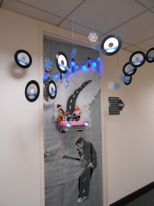 WINNER!! Blue Christmas - Concourse Room CX42. - 2012 Holiday Door Decorating Contest