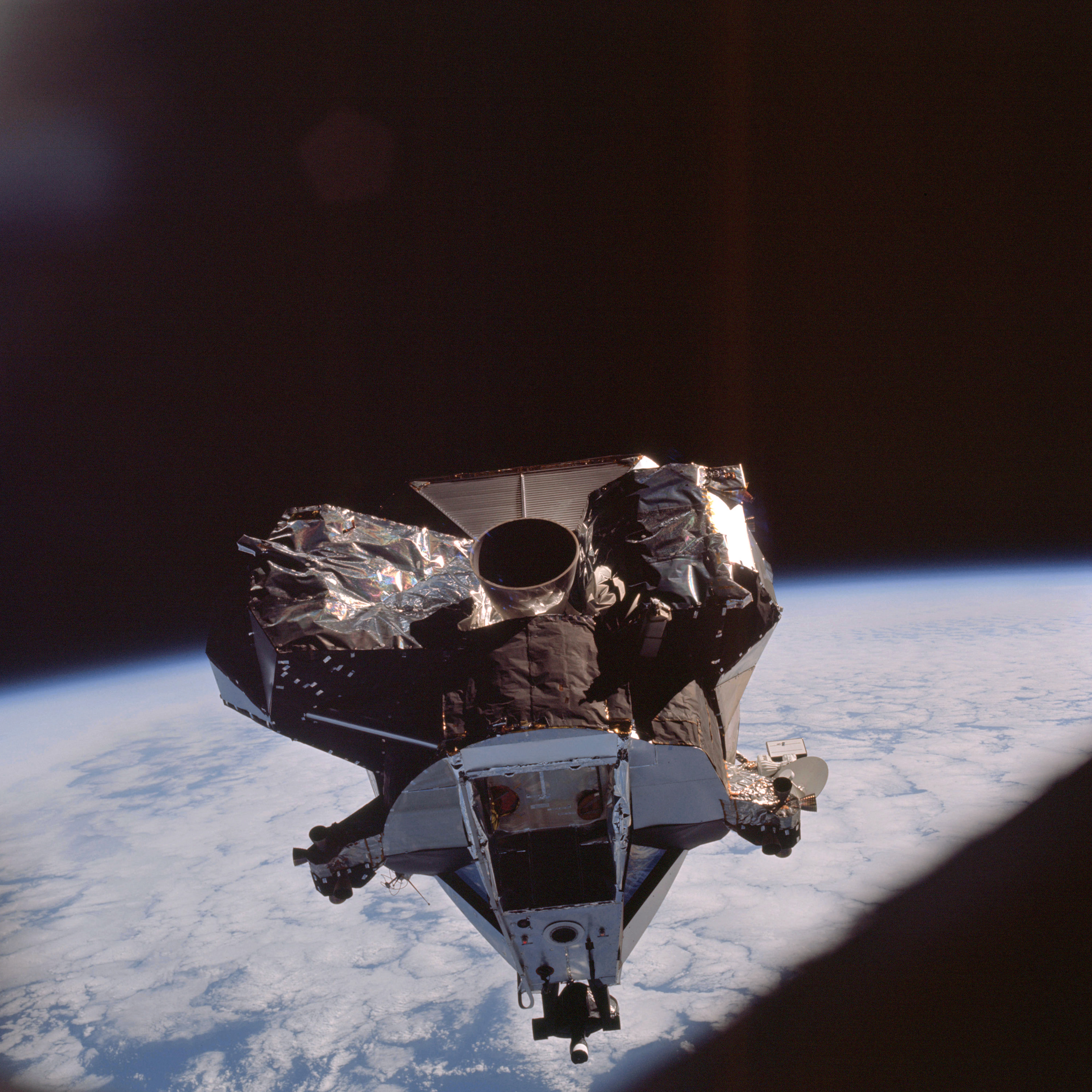 The Apollo 9 Lunar Module ascent stage during rendezvous ...
